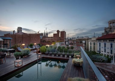 Roof terraace and pool in the luxury hotel Mercer Barcelona